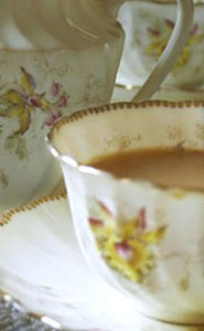 our pretty yellow and gold china tea cups
