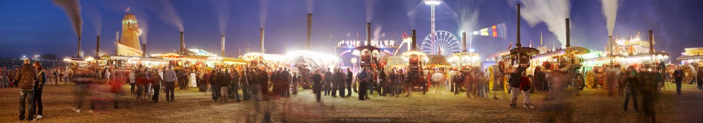 Panoramic image of the Great Dorset Steam Fair at night