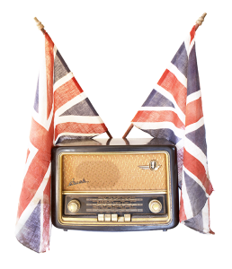 old radio and union jack flags