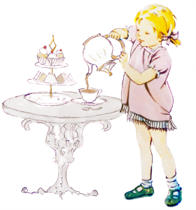 Picture of a little girl pouring tea