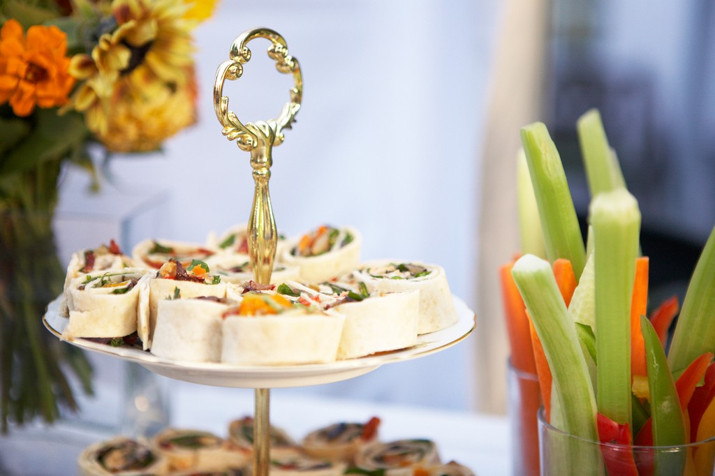 Party wraps on cake stand with flowers