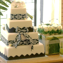 Picture of a tiered black and white cake