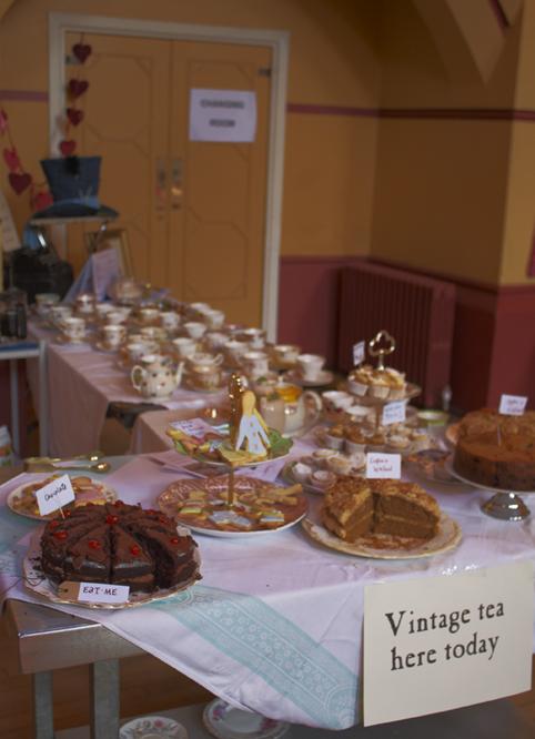cakes and vintage tea