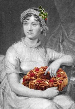 picture of Jane Austen with a fruit cake
