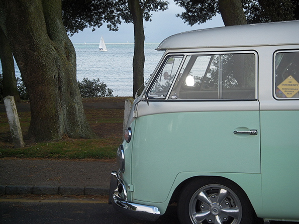Duck egg coloured Volkswagen camper van
