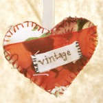 tiny fabric vintage heart