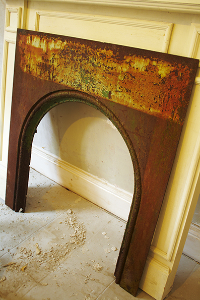 old rusty fire surround
