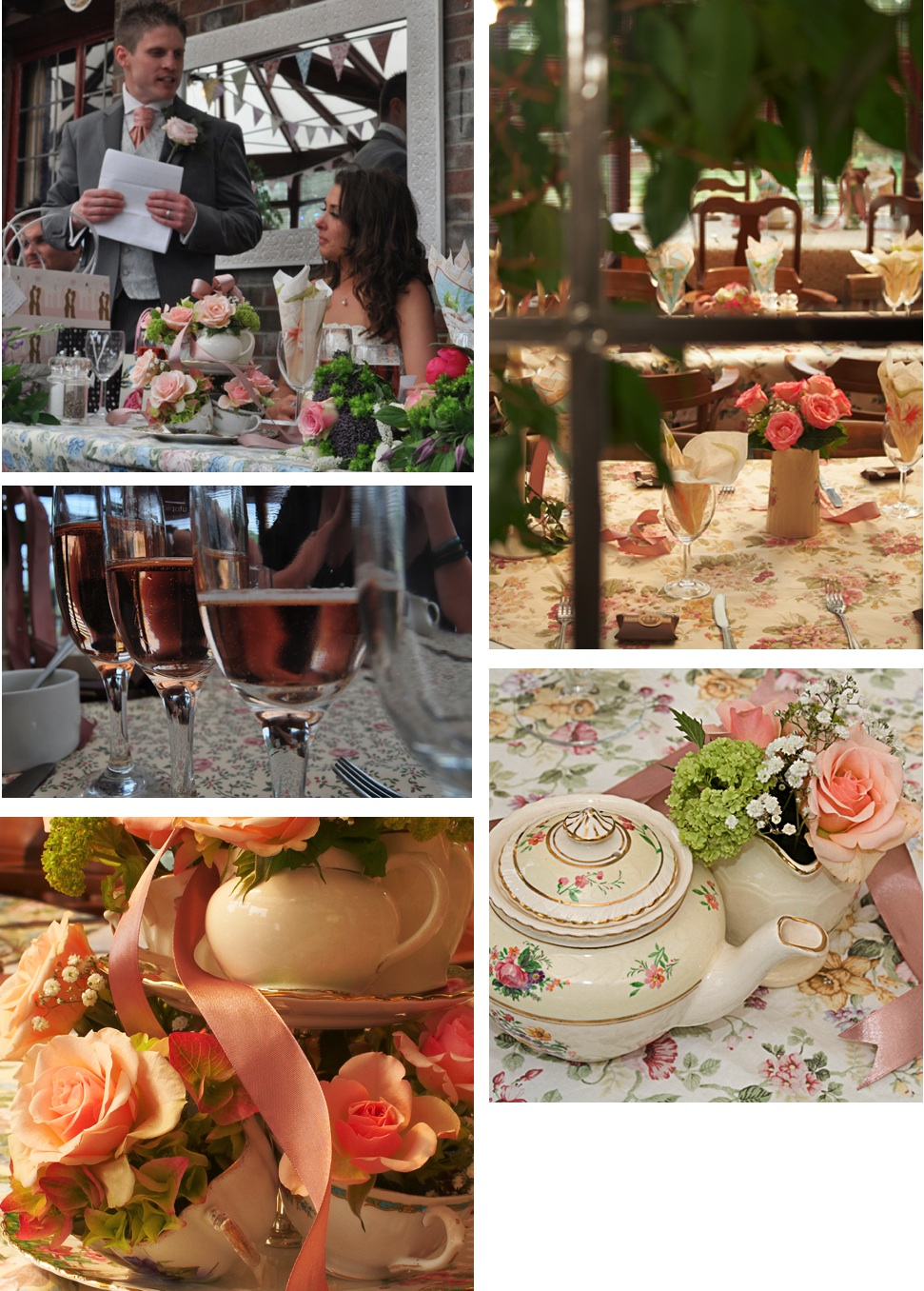 Wedding pictures vintage china, teapots, flowers and tablecloths