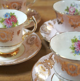 pink vintage china for hire