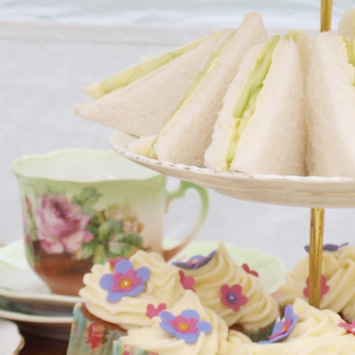 Vintage tea with cucumber sandwiches