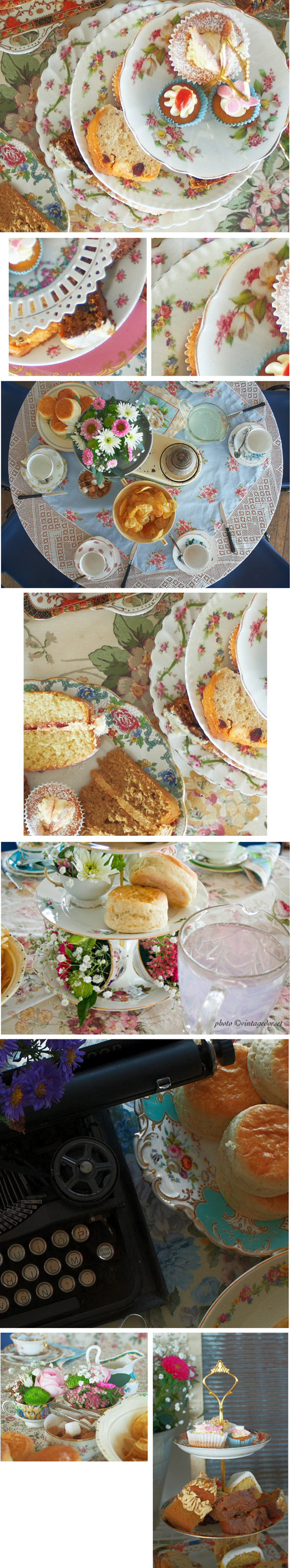 mixed pictures of cake and vintage china