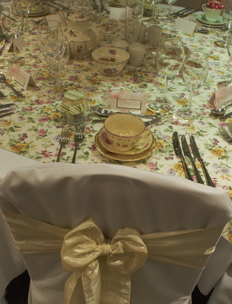 Vintage table dressing and chair wraps