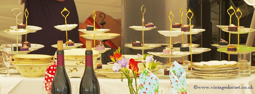 vintage china cake stands Dorset
