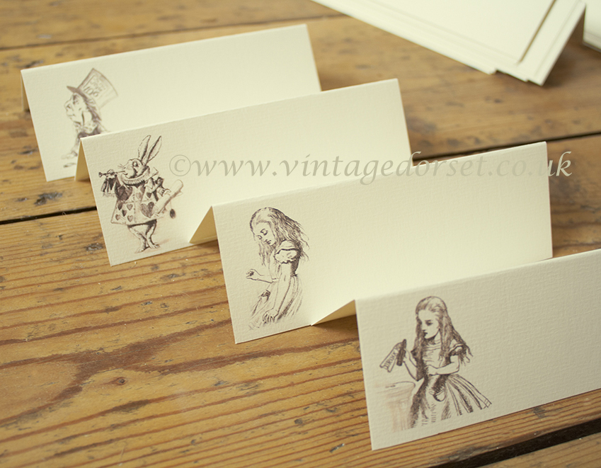alice in wonderland name cards for a mad hatter wedding
