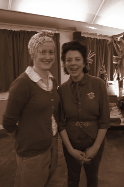 Land girls in WW2 outfits at a vintage dorset blitz party