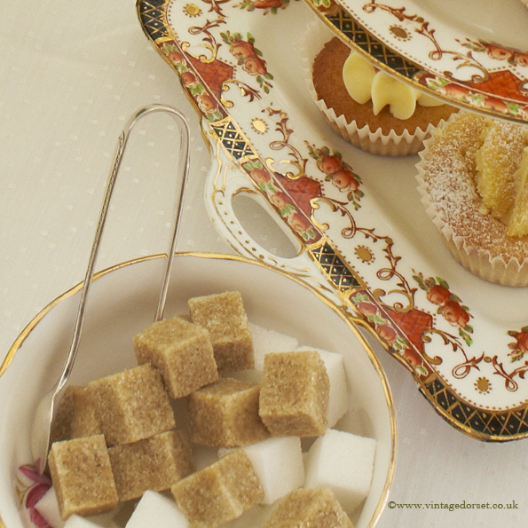 vintage cake stand & sugar tongs