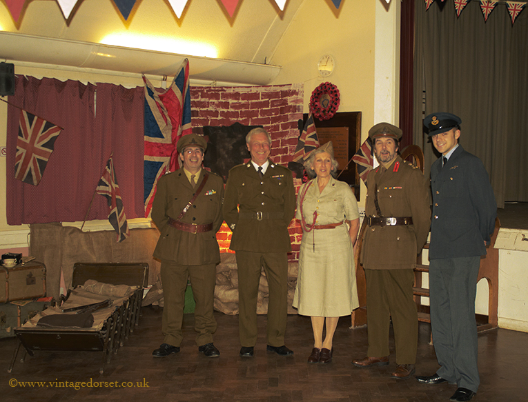 Guests in military costumes at the Blitz party