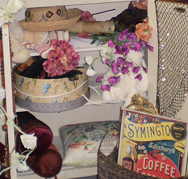 Trinkets on a shelf at the Antiques Bazaar, Crewkerne